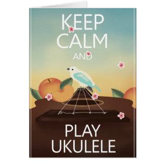 Keep Calm and Play Ukulele Hawaiian Style Greeting Card