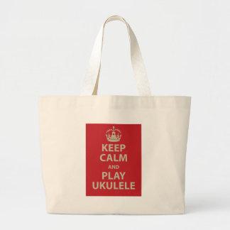 Keep Calm and Play Ukulele Jumbo Tote Bag