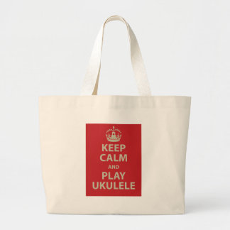 Keep Calm and Play Ukulele Large Tote Bag