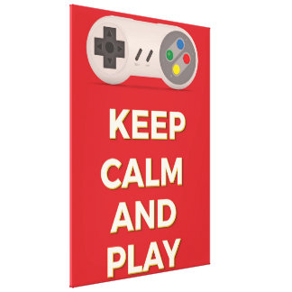 Keep Calm and Play vintage poster Stretched Canvas Print