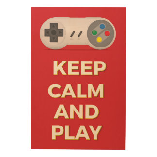 Keep Calm and Play vintage poster Wood Canvases