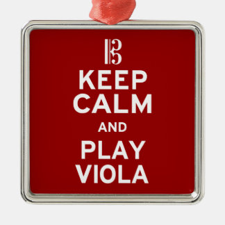 Keep Calm and Play Viola Silver-Colored Square Decoration