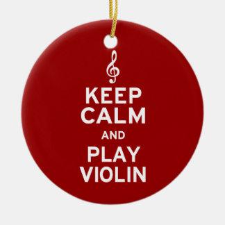 Keep Calm and Play Violin Christmas Ornament
