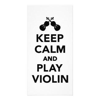 Keep calm and play violin photo cards
