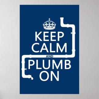 Keep Calm and Plumb On plumber plumbing Print
