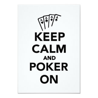 Keep calm and Poker on 3.5x5 Paper Invitation Card