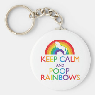 Keep Calm and Poop Rainbows Unicorn Key Ring
