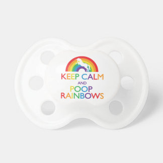 Keep Calm and Poop Rainbows Unicorn Pacifier