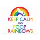 Keep Calm and Poop Rainbows Unicorn Postcard