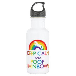 """Keep Calm and Poop Rainbows Unicorn """"Read Below"""" 532 Ml Water Bottle"""