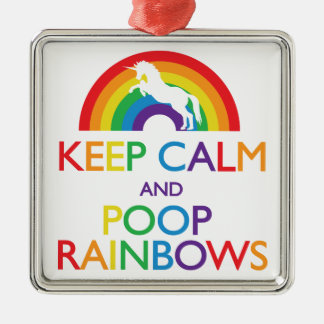 Keep Calm and Poop Rainbows Unicorn Silver-Colored Square Decoration