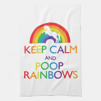Keep Calm and Poop Rainbows Unicorn Tea Towel