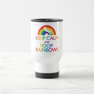 Keep Calm and Poop Rainbows Unicorn Travel Mug