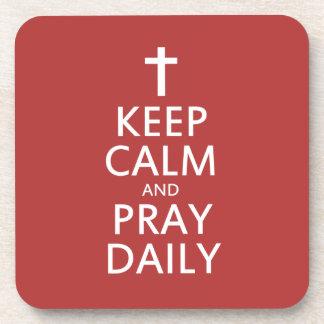 Keep Calm and Pray Daily Drink Coaster