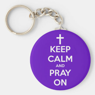 Keep Calm and Pray On Purple Basic Round Button Key Ring