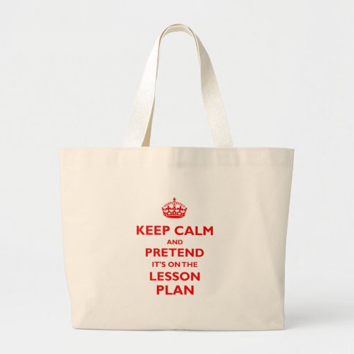 Keep Calm And Pretend (Red) Tote Bags