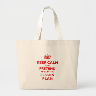 Keep Calm And Pretend (Red) Large Tote Bag