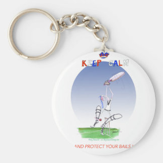 keep calm and protect your bails, tony fernandes basic round button key ring