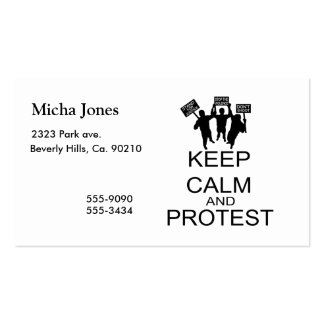 Keep Calm And Protest Business Cards