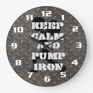 Keep Calm and Pump iron Fitness GYM Wall Clock