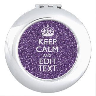Keep Calm and Purple Mauve Makeup Mirror