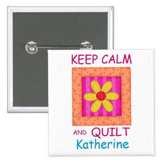 Keep Calm and Quilt Applique Flower Block 15 Cm Square Badge
