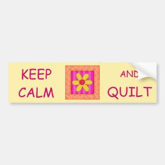 Keep Calm and Quilt Applique Flower Block Bumper Sticker