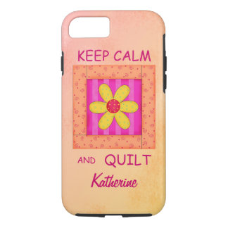 Keep Calm and Quilt Block Personalized Your Name iPhone 7 Case