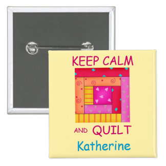 Keep Calm and Quilt Colorful Log Cabin Block 15 Cm Square Badge