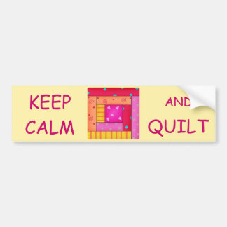 Keep Calm and Quilt Colorful Log Cabin Block Bumper Sticker