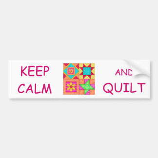 Keep Calm and Quilt Colorful Patchwork Blocks Car Bumper Sticker