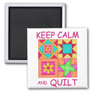 Keep Calm and Quilt Colorful Patchwork Blocks Magnet