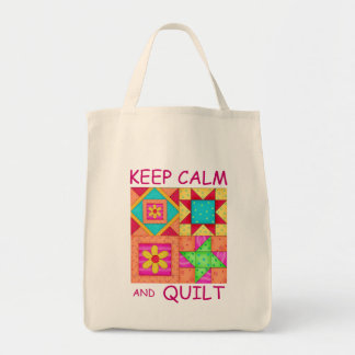 Keep Calm and Quilt Colorful Patchwork Blocks Tote Bag