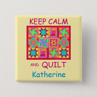 Keep Calm and Quilt Multi Block Patchwork Quilt 15 Cm Square Badge