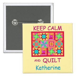 Keep Calm and Quilt Multi Block Patchwork Quilt 15 Cm Square Badge