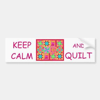 Keep Calm and Quilt Multi Block Patchwork Quilt Bumper Sticker
