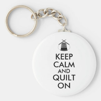 Keep Calm and Quilt On Sewing Thimble Needles Basic Round Button Key Ring