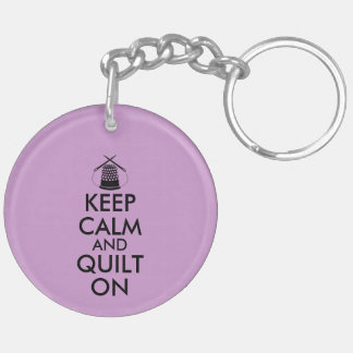 Keep Calm and Quilt On Sewing Thimble Needles Double-Sided Round Acrylic Key Ring