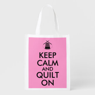 Keep Calm and Quilt On Sewing Thimble Needles Reusable Grocery Bag