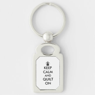 Keep Calm and Quilt On Sewing Thimble Needles Silver-Colored Rectangle Key Ring