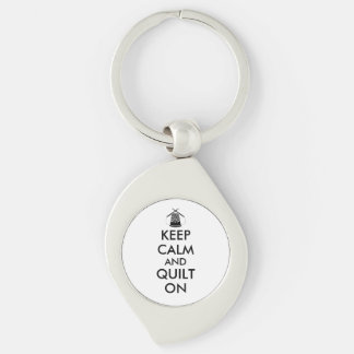 Keep Calm and Quilt On Sewing Thimble Needles Silver-Colored Swirl Key Ring