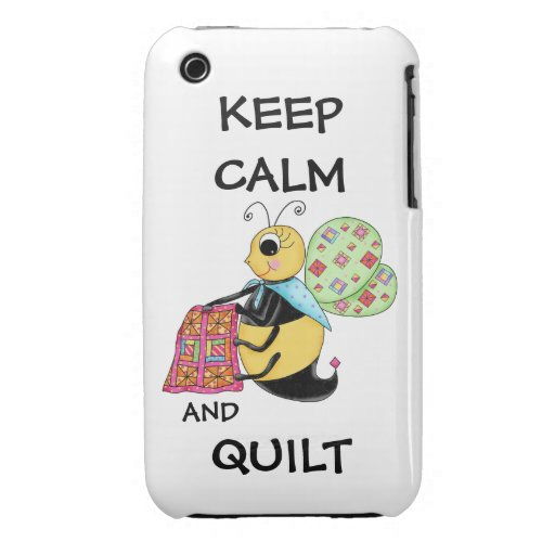 Keep Calm and Quilt Whimsy Honey Bee Art iPhone 3 Cases
