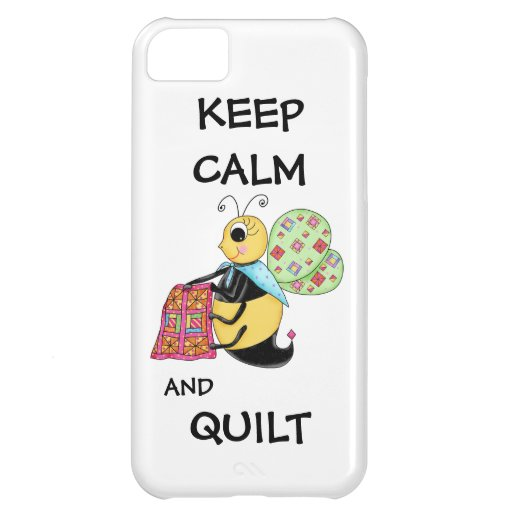 Keep Calm and Quilt Whimsy Honey Bee Art Case For iPhone 5C