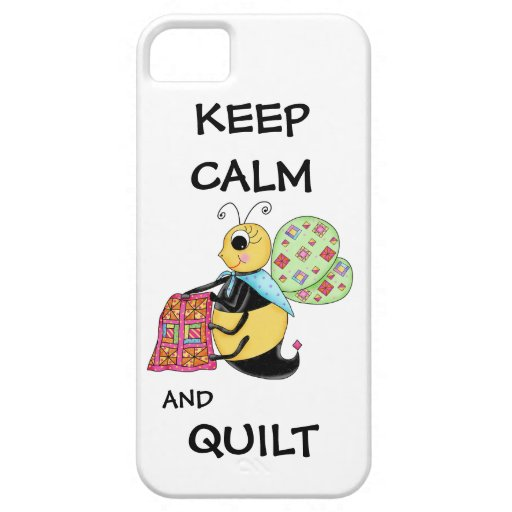 Keep Calm and Quilt Whimsy Honey Bee Art iPhone 5 Cases