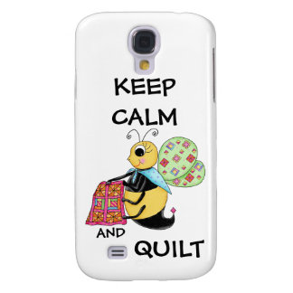 Keep Calm and Quilt Whimsy Honey Bee Art Galaxy S4 Case