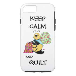 Keep Calm and Quilt Whimsy Honey Bee Art iPhone 7 Case