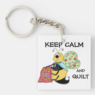 Keep Calm and Quilt Whimsy Honey Bee Art Square Acrylic Keychains