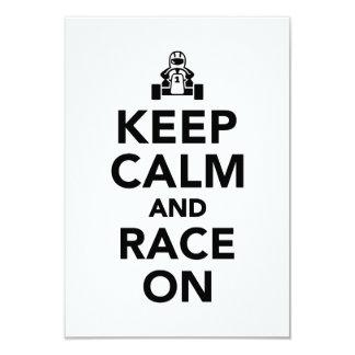 Keep calm and race on 9 cm x 13 cm invitation card