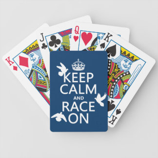 Keep Calm and Race On (Pigeons) (all colors) Bicycle Playing Cards