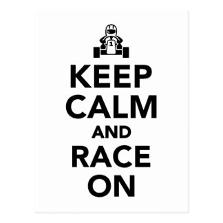 Keep calm and race on postcard